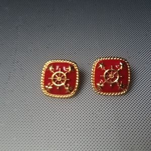 Sailing coastal red enameled square earrings